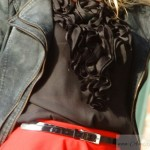 Red leather Jacket red pencil skirt