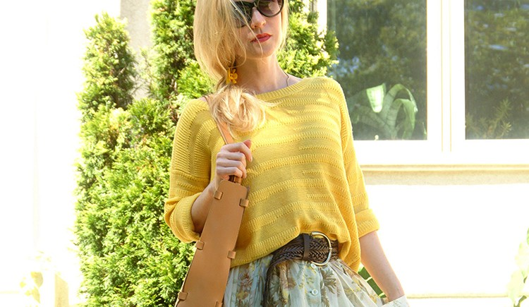 Mango-Midi-skirt-with-floral-print-yellow-sweater
