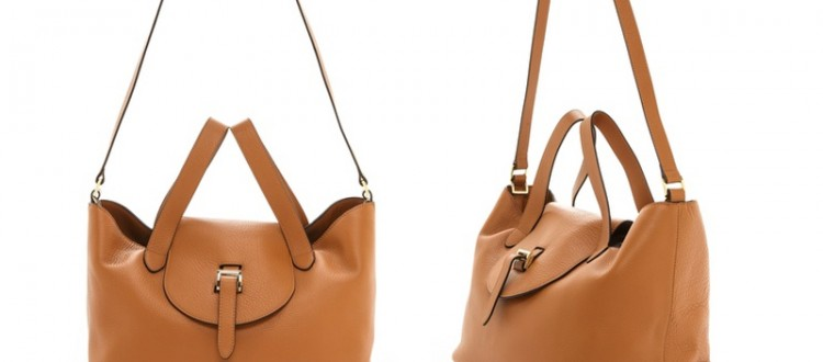 A crinkled leather meli melo handbag with a slouchy silhouette