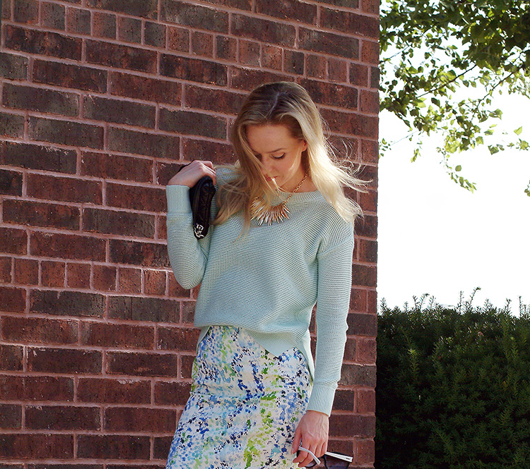 Turquoise Sweater Amp Watercolor Print Skirt Annrobiefashion